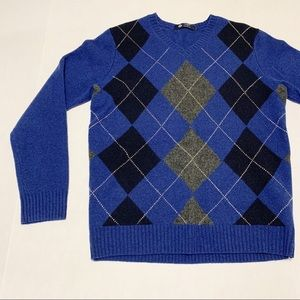 J. Crew Argyle Lambs Wool V-Neck Sweater Size M